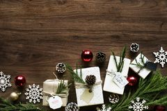 Christmas design space wallpaper with gifts Stock Image