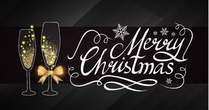 Elegant Christmas Design Template with Lettering, Champagne Glasses, Gold Effects, Stars and Flash light. Vector. Christmas Design Template with Champagne Royalty Free Stock Photo