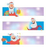 Christmas design templates with funny Santa Claus. Santa Claus brings presents in boxes. Christmas banner or header for Stock Photo