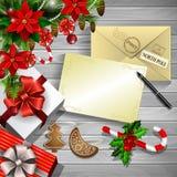 Christmas design on wood Royalty Free Stock Image