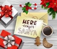 Christmas design on wood Royalty Free Stock Photography