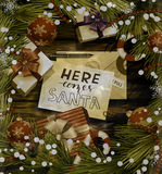 Christmas design on wood Stock Photography
