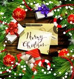 Christmas design on wood Royalty Free Stock Images