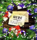 Christmas design on wood Stock Images