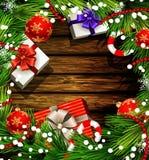 Christmas design on wood Stock Photos
