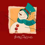 Christmas design. XMas invitation with snowman. Merry Christmas Royalty Free Stock Photos