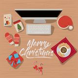 Christmas desktop computer scene in top view with decoration and gifts. Vector illustration Royalty Free Stock Photography