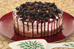 Christmas Dessert. With blueberries and chocolate royalty free stock photography