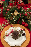 Christmas Dessert. Beautifully decorated Christmas setting with gourmet dessert stock photos