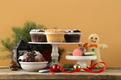Christmas dessert buffet muffins, cookies, macaroon Stock Image
