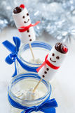 Christmas dessert, cheesecake cream with  marshmallow snowman Stock Photography
