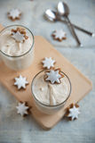 Christmas Dessert with cinnamon star cookies Stock Photos