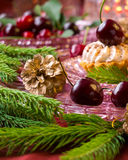 Christmas dessert - cupcakes with red cherries Royalty Free Stock Image