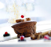 Christmas dessert - dark chocolate souffle Royalty Free Stock Image