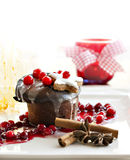 Christmas dessert - dark chocolate souffle Stock Images
