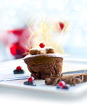 Christmas dessert - dark chocolate souffle Stock Photos
