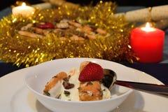 Christmas dessert. A delicious chocolate mint and custard dessert Royalty Free Stock Photos