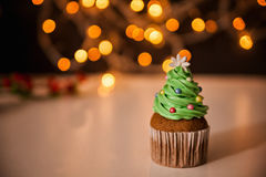 Christmas Dessert. Delicious Christmas Dessert. Christmas Tree Cupcake. Copy Space royalty free stock images