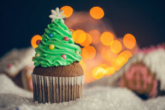 Christmas Dessert. Delicious Christmas Dessert. Christmas Tree Cupcakes stock photos