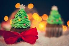 Christmas Dessert. Delicious Christmas Dessert. Christmas Tree Cupcakes Stock Photos