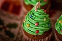 Christmas Dessert. Delicious Christmas Dessert. Christmas Tree Cupcakes Stock Photo