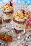 Christmas dessert with gingerbread,whipped cream and caramel Royalty Free Stock Photography