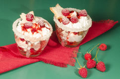 Christmas dessert in a glass with decoration Stock Photo