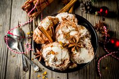 Christmas dessert, Homemade Eggnog ice cream royalty free stock images