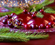 Christmas dessert - red berries jelly with cherries Royalty Free Stock Image