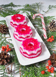 Christmas dessert with red and white jelly Stock Photos