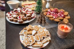 Christmas dessert serving on table. In living room at home stock photo