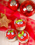 Christmas dessert. Sweet dessert tiramisu with strawberry, fresh Royalty Free Stock Images