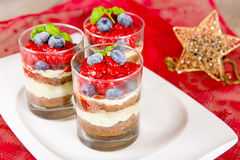 Christmas dessert. Sweet dessert tiramisu with strawberry, fresh Stock Images