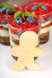Christmas dessert. Sweet dessert tiramisu with strawberry, fresh Stock Photography