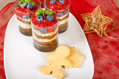 Christmas dessert. Sweet dessert tiramisu with strawberry, fresh Stock Images