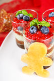 Christmas dessert. Sweet dessert tiramisu with strawberry, fresh Royalty Free Stock Photos