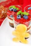 Christmas dessert. Sweet dessert tiramisu with strawberry, fresh Royalty Free Stock Photos