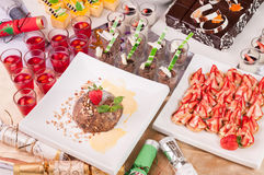 Christmas dessert top view Stock Images