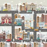 Christmas detailed snow day town with city roads, cars and cute houses. Happy New Year vector template in modern flat design. royalty free illustration