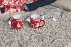 Christmas details. cup with Christmas ornament Stock Photo