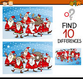 Christmas differences task for kids. Cartoon Illustration of Differences Educational Task for Preschool Children with Christmas Characters Stock Image
