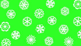 Christmas different sort of snowflakes, effect snowfall on a green screen background. stock footage