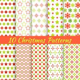 Christmas different vector seamless patterns. 10 Christmas different vector seamless patterns (tiling). Holiday background. Endless texture can be used for Royalty Free Stock Photo