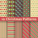 Christmas different vector seamless patterns. 10 Christmas different vector seamless patterns (tiling). Holiday background. Endless texture can be used for Stock Images