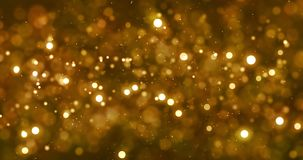 Christmas digital glitter sparks golden particles bokeh flowing on gold background, holiday xmas festive happy new year stock video footage