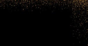 Christmas digital glitter sparks golden particles bokeh strips flowing on black background, holiday xmas event stock video footage