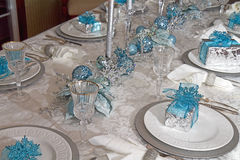 Christmas Dining Table decorated in Blues Stock Photos