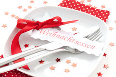 Christmas dinner. Decorated table for christmas dinner Royalty Free Stock Image