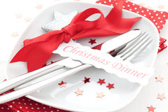 Christmas dinner. Table setting for christmas dinner Stock Photos