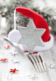 Christmas dinner. Table setting for christmas with decoration Royalty Free Stock Image